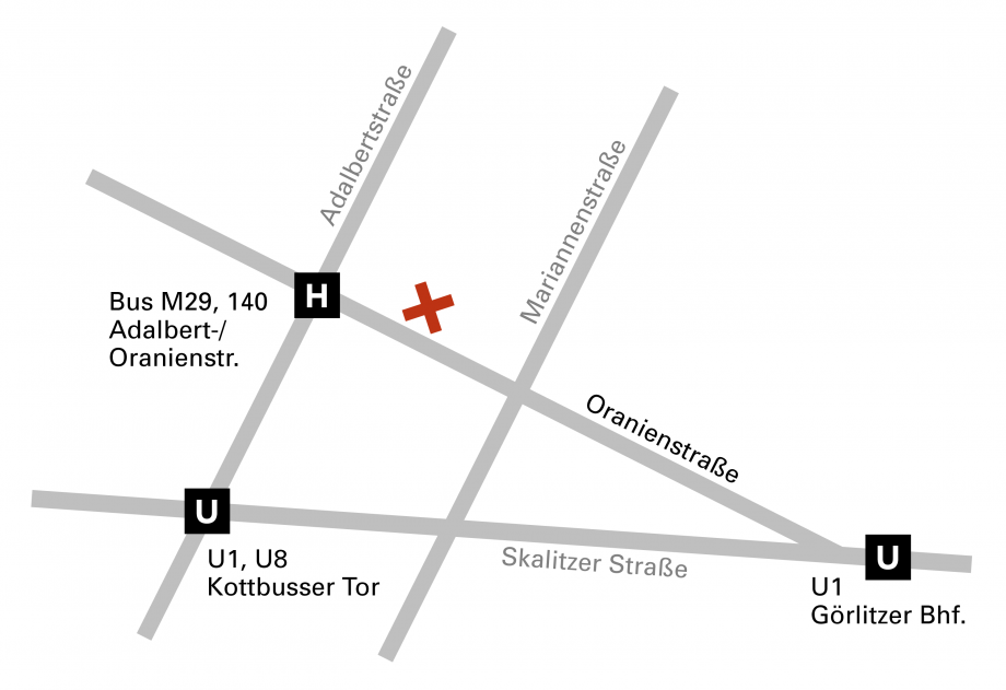Grafik zur Anfahrt zum Werkbundarchiv - Museum der Dinge