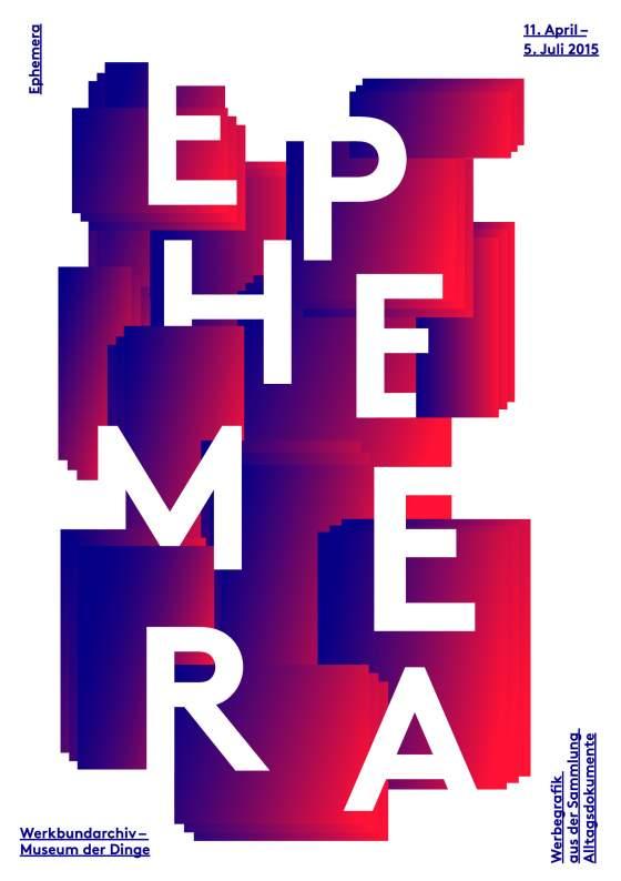 """Flyer der Sonderausstellung """"Ephemera"""" im Werkbundarchiv - Museum der Dinge"""